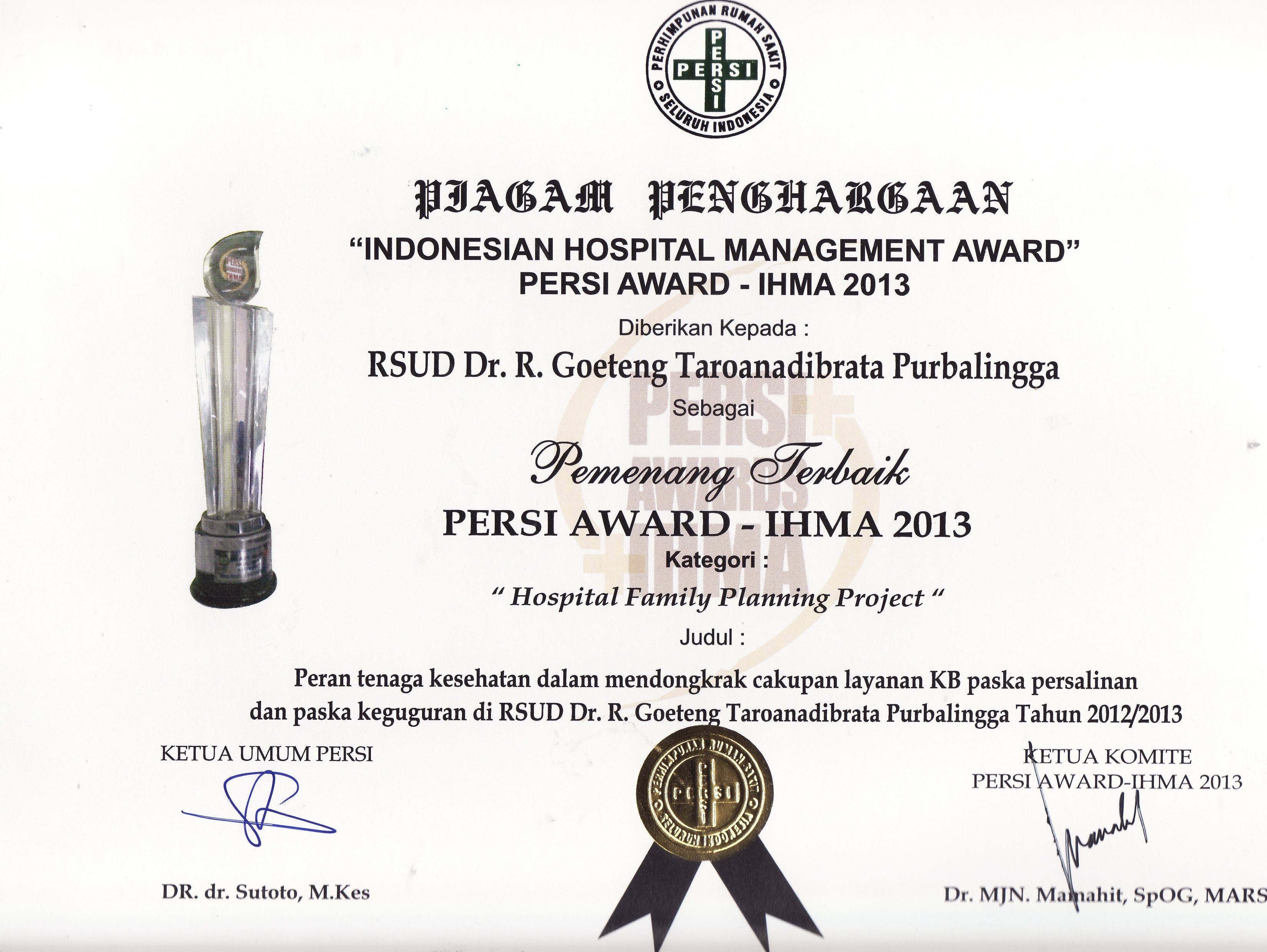 RSUD dr. R. Goeteng Taroenadibrata Juara Nasional Persi Award 2013