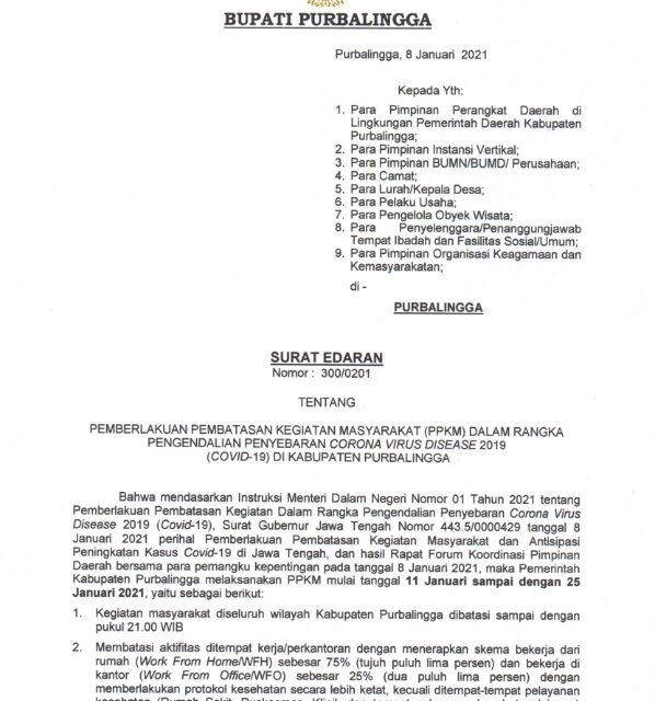 Surat Edaran Bupati tentang Pemberlakuan Pembatasan Kegiatan Masyarakat  (PPKM) di Kabupaten Purbalingga